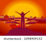 girl with hands up on the top... | Shutterstock .eps vector #1098909152