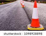 Row Of Traffic Cones Along The...