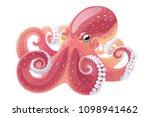 vector cartoon octopus. aquatic ... | Shutterstock .eps vector #1098941462