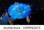 close up inside hard disk  ... | Shutterstock . vector #1098962672