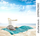 empty towel on beach and... | Shutterstock . vector #1098962882