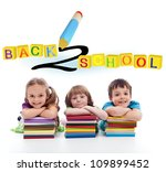 Kids with lots of books - back to school concept - stock photo