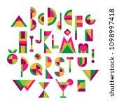 set of fun multicolor geometric ... | Shutterstock .eps vector #1098997418