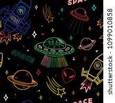 cartoon colorful set seamless... | Shutterstock .eps vector #1099010858