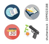 icons peace with gun  open book ... | Shutterstock .eps vector #1099023188