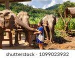 girl wiht bananas in her hand... | Shutterstock . vector #1099023932