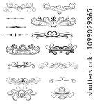 set of decorative florish... | Shutterstock .eps vector #1099029365