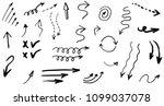 doodle hand drawn vector arrows ... | Shutterstock .eps vector #1099037078
