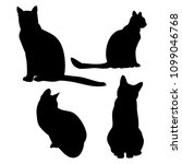 Stock vector cat outline on white background set of vector silhouettes 1099046768