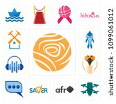 set of 13 simple editable icons ... | Shutterstock .eps vector #1099061012