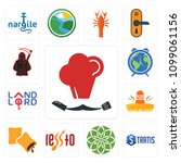 set of 13 simple editable icons ... | Shutterstock .eps vector #1099061156