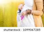 pregnant woman belly holding... | Shutterstock . vector #1099067285