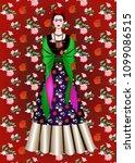 frida kahlo vector portrait  ... | Shutterstock .eps vector #1099086515