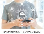 social media with young man... | Shutterstock . vector #1099101602