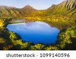 aerial shot of a blue pond...   Shutterstock . vector #1099140596