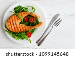 grilled salmon steak with... | Shutterstock . vector #1099145648
