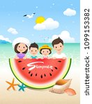 summer time vacation  family...   Shutterstock .eps vector #1099153382
