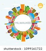 milwaukee skyline with color...   Shutterstock . vector #1099161722