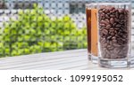black iced coffee  cold latte ... | Shutterstock . vector #1099195052
