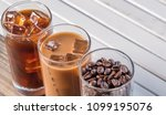 black iced coffee  cold latte ... | Shutterstock . vector #1099195076