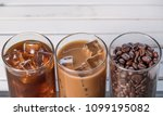 black iced coffee  cold latte ... | Shutterstock . vector #1099195082