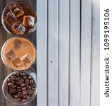 black iced coffee  cold latte ... | Shutterstock . vector #1099195106