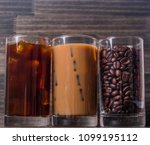 black iced coffee  cold latte ... | Shutterstock . vector #1099195112