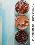black iced coffee  cold latte ... | Shutterstock . vector #1099195142