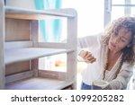beautiful caucasian middle age...   Shutterstock . vector #1099205282