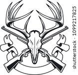 deer skull with crossing... | Shutterstock .eps vector #1099217825