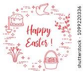 easter symbols. easter cake ... | Shutterstock .eps vector #1099220336