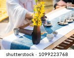 a young woman's tea ceremony.... | Shutterstock . vector #1099223768