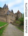 the citadel in carcassonne  a... | Shutterstock . vector #1099224776