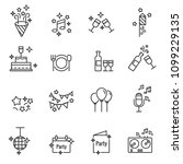 party vector line icons | Shutterstock .eps vector #1099229135