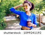 pretty  woman with brown skin...   Shutterstock . vector #1099241192