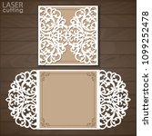 laser cut wedding invitation... | Shutterstock .eps vector #1099252478