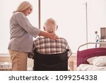 beautiful old lady is stroking... | Shutterstock . vector #1099254338