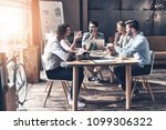 confident and successful team.... | Shutterstock . vector #1099306322