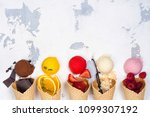 assortment of ice cream flavors ... | Shutterstock . vector #1099307192