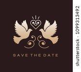 Wedding Doves Birds Gold Icons...