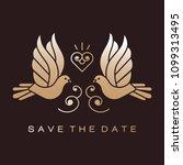 wedding doves birds gold icons... | Shutterstock .eps vector #1099313495