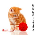 Stock photo cute little red kitten isolated with red clew on white background 109931372
