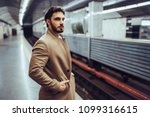 handsome bearded man is waiting ... | Shutterstock . vector #1099316615