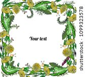 frame of dandelions and flowers ... | Shutterstock .eps vector #1099323578