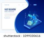 isometric online express  free  ... | Shutterstock .eps vector #1099330616