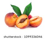 peach with leaf isolated on... | Shutterstock . vector #1099336046