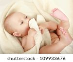 beautiful little boy lying on... | Shutterstock . vector #109933676