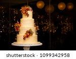 beautiful white four tier cake... | Shutterstock . vector #1099342958