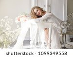 girl white light dress and... | Shutterstock . vector #1099349558