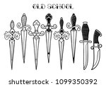 set of graphic ornate knifes... | Shutterstock .eps vector #1099350392